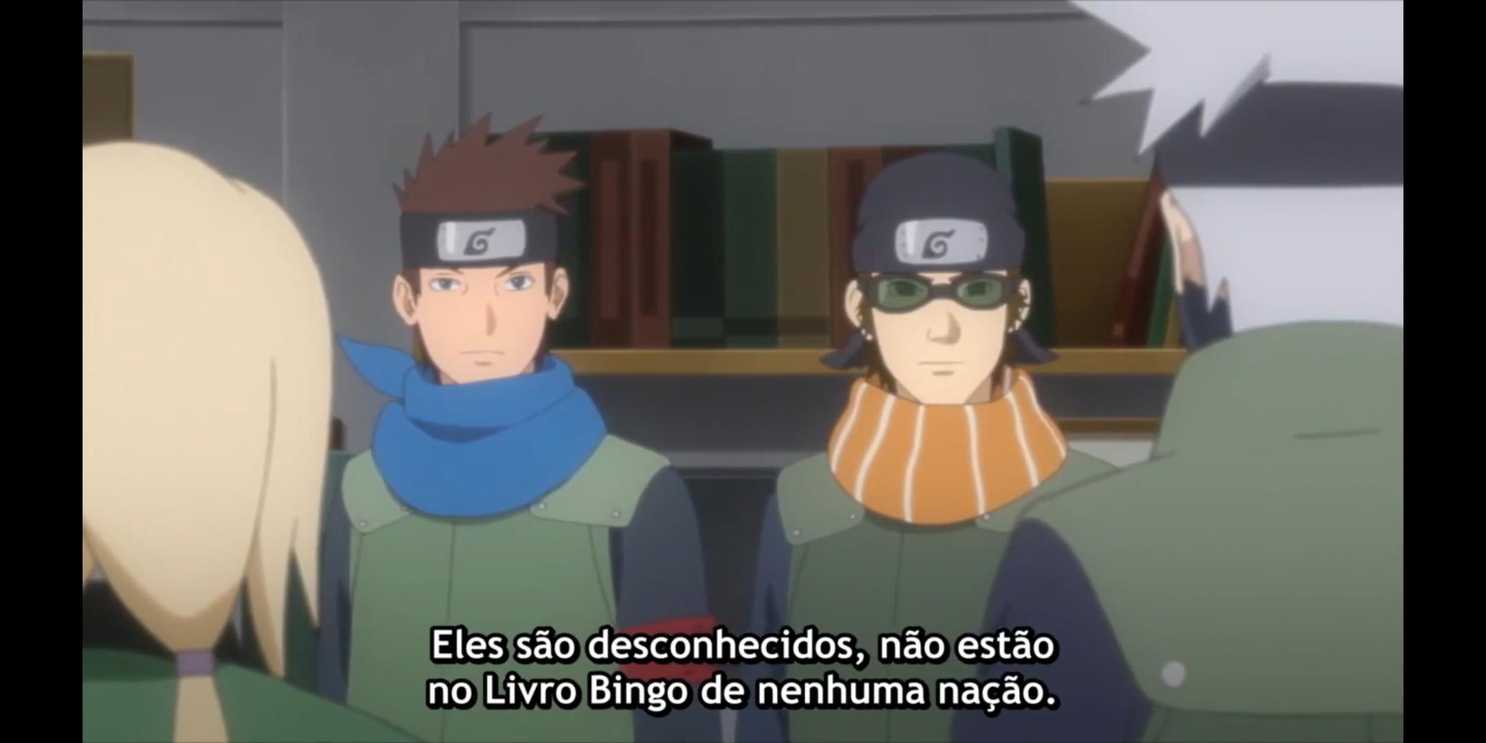 Episódio 176 de Boruto - Konohamaru e Mugino explicam que Deepa e Victor não estão no Livro Bingo