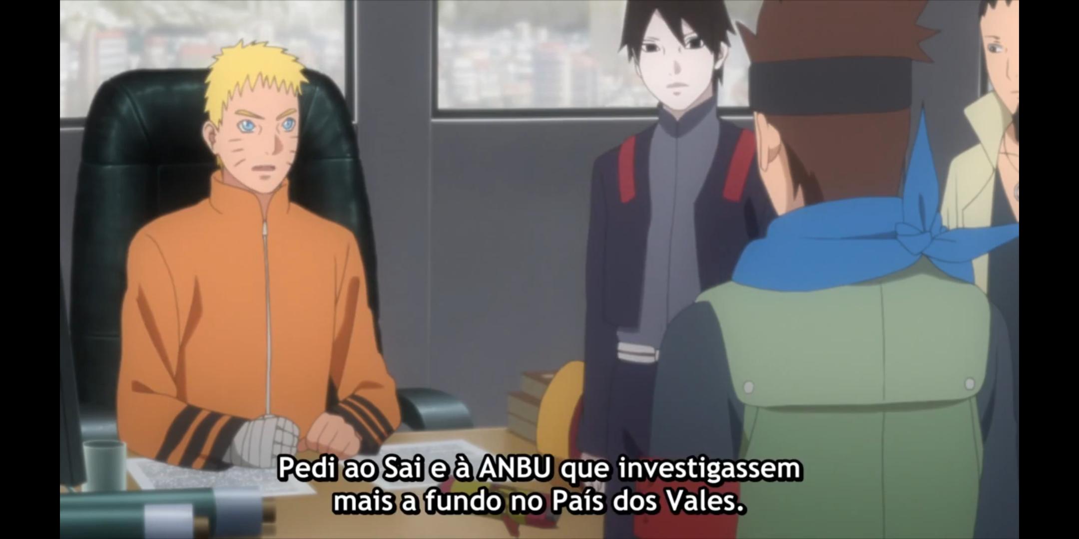Episódio 176 de Boruto - Naruto explica que pediu a Anbu para investigar o País dos Vales