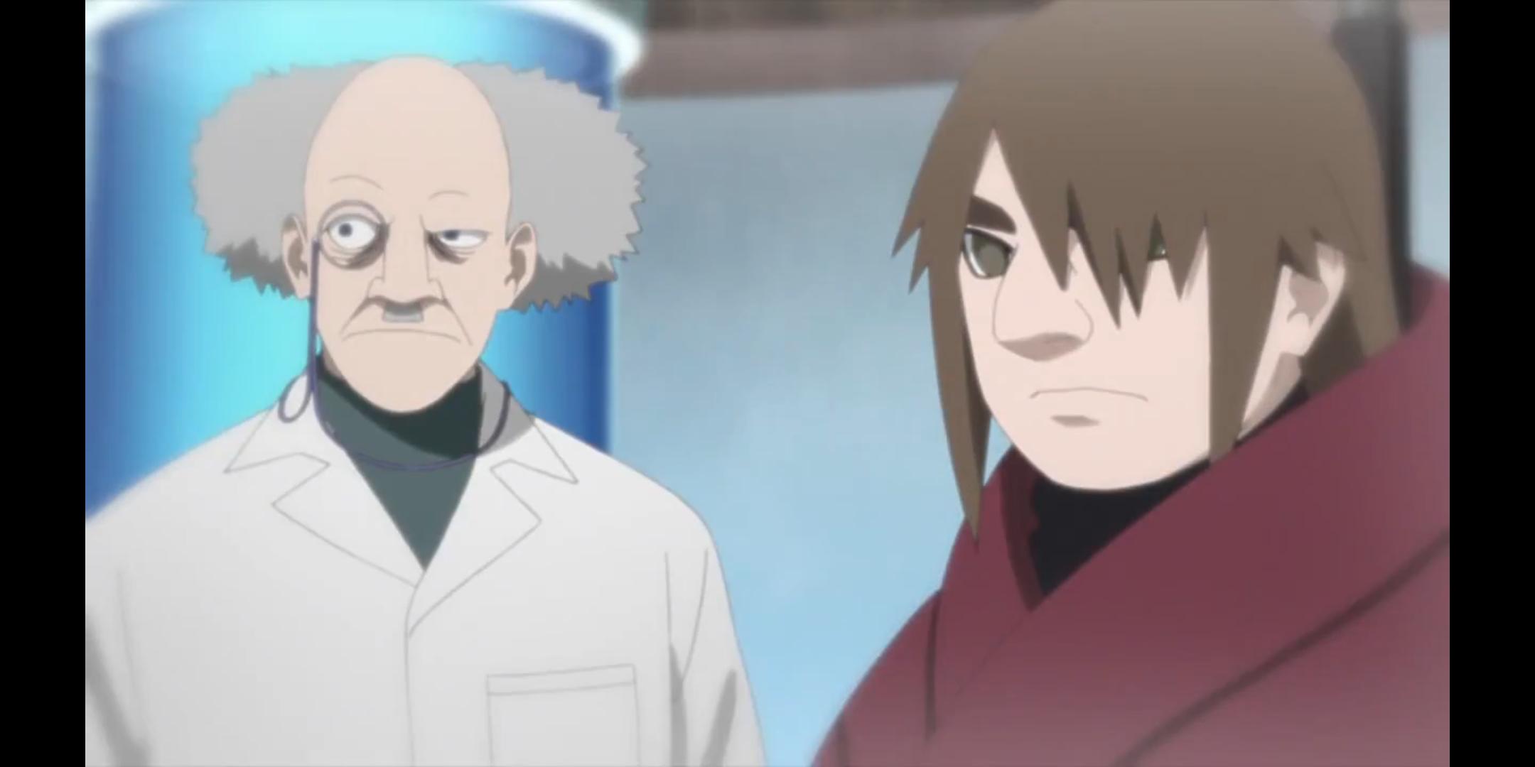 """Episódio 176 de Boruto - Ku e o médico """"Outer"""" da Organização Kara"""