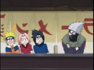 Time 7 tenta ver o rosto do Kakashi