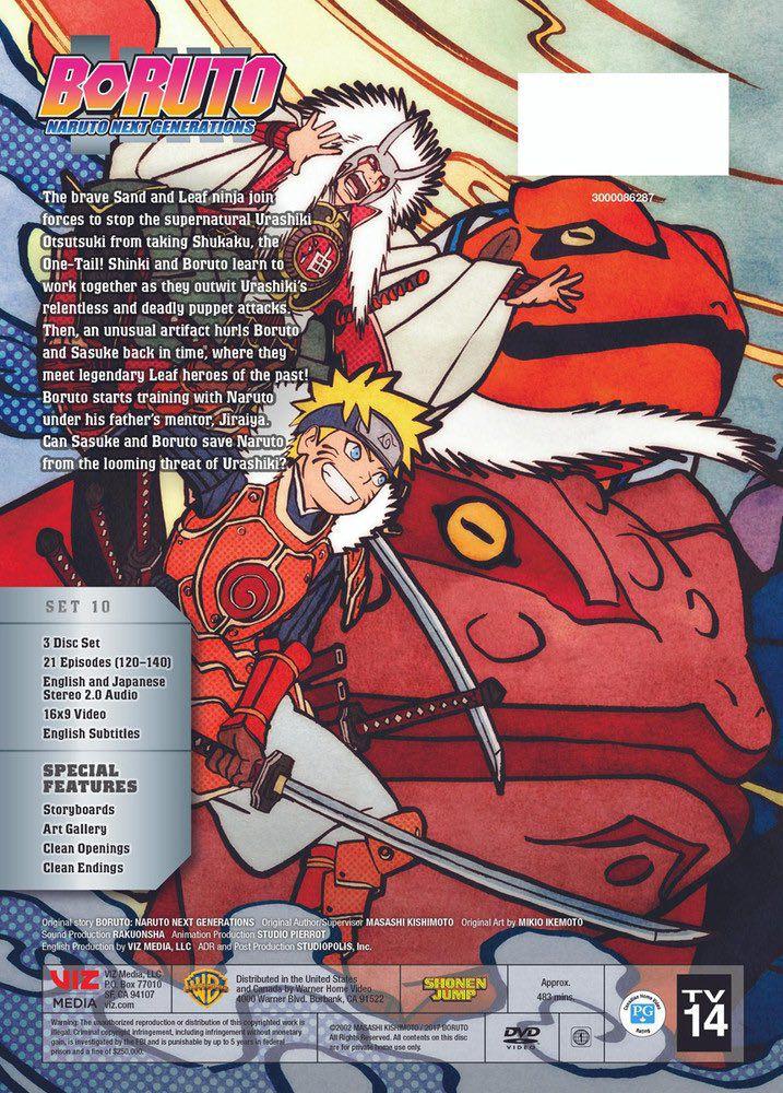 Naruto e Jiraiya na contracapa do DVD Box set 10